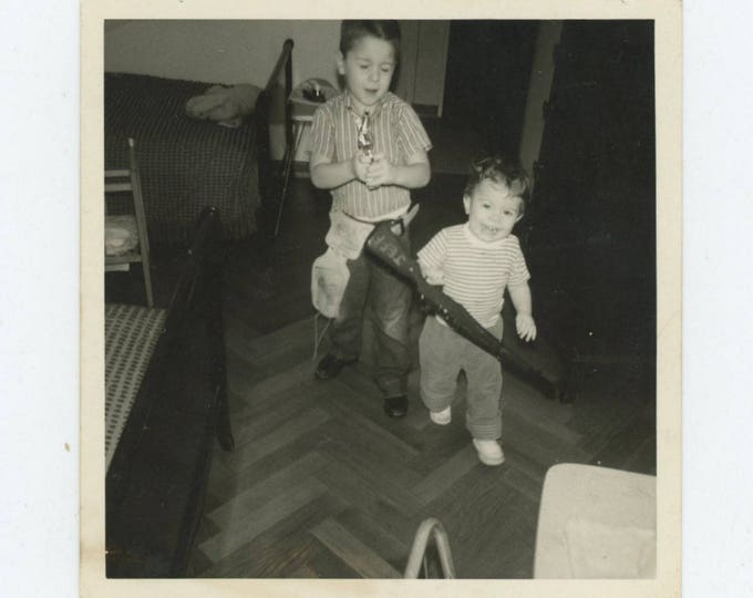 Vintage Snapshot Photo: Boys and their Guns, c1950s (710615)