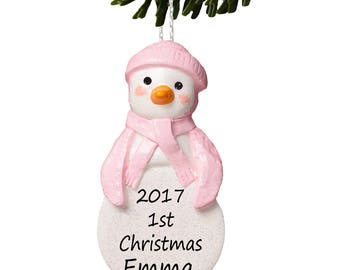Penguin, Baby's First Christmas Decorations, Personalised Baby Bauble in Pink by Truly for You