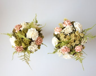 Bridesmaids Bouquet, Flower Girl Bouquet, Toss Wedding Bouquet, Blush Wedding Bouquet, Dried Flower Bouquet, Silk Flower Bouquet DUSTY ROSE