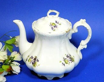 Antique Vodrey China Teapot Violet Pattern Ohio Pottery