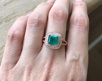 Rose Gold Emerald Ring- Princess Emerald Engagement Ring- Halo Emerald Promise Ring- Double Band Engagement Ring- May Birthstone Ring