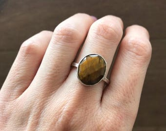 30% OFF Oval Tiger Eye Ring- Silver Tiger Eye Ring- Faceted Brown Gemstone Ring- Bezel Statement Ring- Solitaire Brown Stone Ring