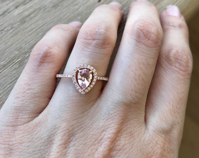Featured listing image: Pear Morganite Promise Ring- Morganite Engagement Ring- Rose Gold Promise Ring- Classic Halo Morganite Ring- Alternative Engagement Ring