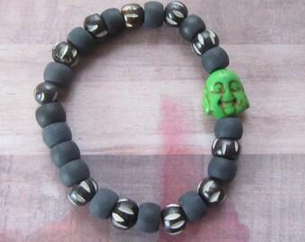 Handmade Green Happy Buddha Beaded Stretch Bracelet with Wood & Matte Beads