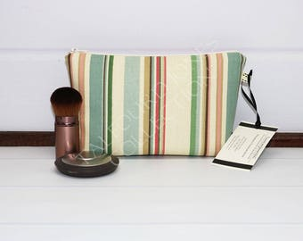 Travel Make Up Bag - Striped Makeup Bag - Zipper Cosmetic Bag - Small Toilet Bag - Zipper Pouch - Gadget Pouch - Makeup Gift Idea