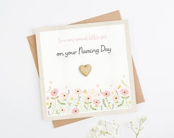 Floral Naming Day Card Little Girl