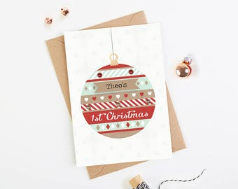 Baby's First Christmas Card - personalised