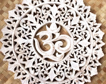 Om mandala hand carved yoga decor room meditation art work wood teak