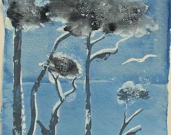 "SMALL ORIGINAL PAINTING - ""Spring coast, Falmouth, Cornwall"" by Melanie McDonald - original painting - trees and gull - Falmouth coast"
