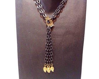gunmetal necklace, gunmetal long necklace, gunmetal chain, chain tassel necklace