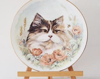 Vintage Tortoiseshell Cat Plate Fine Bone China Royal Worcester Made in England