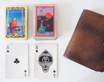 Vintage Double Set of Playing Cards in Leather Wallet with Pencil Made in England
