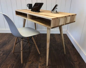 Boxer mid century modern desk with storage, featuring wormy maple and tapered wood legs.