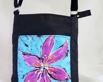 FREE SHIPPING  on Batik and Waxed Cotton Crossbody Bag with Turquoise and Fuschia Accent Pocket
