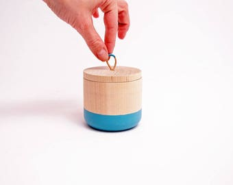 Small Wooden Canister by Willful, color dipped cup, rubber dipped, colorful office gift, mother's day gift, non slip cup