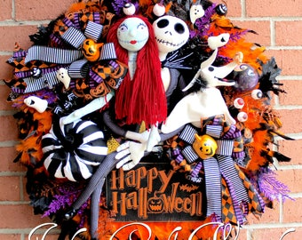 Deluxe Nightmare Before Christmas Halloween Wreath, Large Pumpkin King Wreath, 18in Sally & 24in Jack Skellington, Zero, Plush Pumpkin