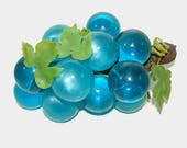 Turquoise Lucite Grapes, Teal Blue or Aqua Acrylic Grape Cluster, Mid Century Decor