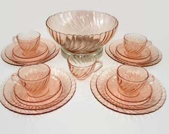 Arcoroc Rosaline Pink Swirl Glass Set, 18 Pieces, Salad or Punch Bowl, 5 Cups, 4 Saucers, 4 Dinner Plates, 4 Salad Plates