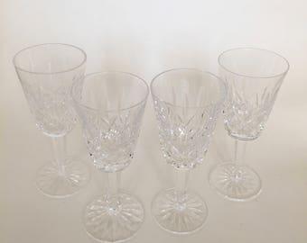 Waterford Wine / 4 Vintage Waterford Irish Crystal White Wine Glasses Lismore Pattern Crystal Wine Stemware
