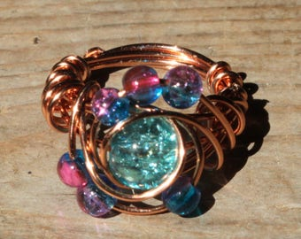 US size 5 copper beads and large focal blue bead ring  with swirls beach jewelry woman jewellery