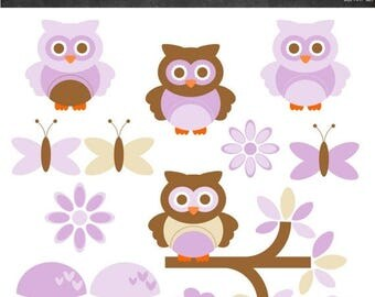 50% OFF Owls Clipart - Purple and Brown - Instant Download