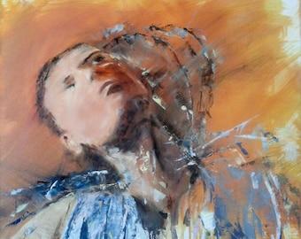 "The Stretch Original oil painting Portrait Living room decor Contemporary art 19.6""x23.5"" Expressionist portrait"