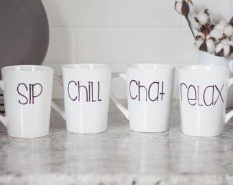 Set of 4 coffee cups - Custom coffee cup - Housewarming gift - Cute coffee cup - Retirement gift - Handpainted coffee cup - One word coffee