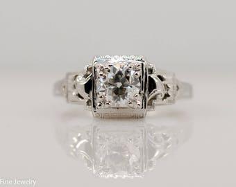 0.75ct Old European Cut Diamond Engagement Ring 18k White Gold Antique Vintage