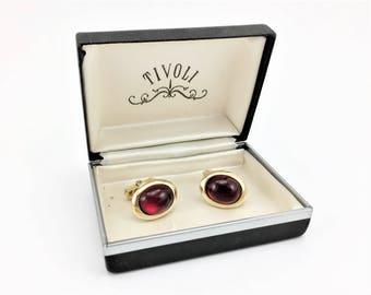 "1940s ANSON Cufflink Set Gold Tone Men's Vintage Cufflinks with Red Cherry Juice Bakelite ""Stones"" by Anson"
