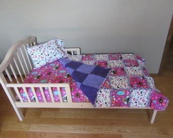 John Deere Farm Fresh Tractors Fabric TODDLER Bed Crib Mattress SET Rag Quilt Sheet Pillow Case