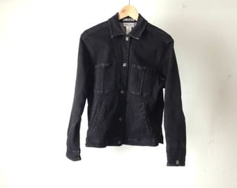 80s black denim JEAN jacket jean denim coat petite