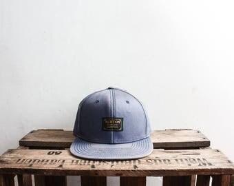 Burton Cap Blue Baseball Trucker Cap Hat Beret Summer Blue Cap Flap Back