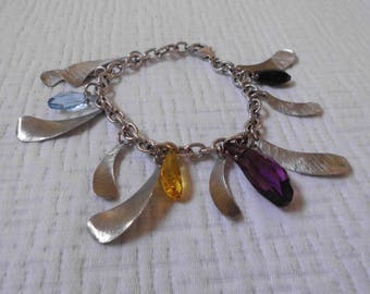 Free shipping-Sterling silver and Swarovski crystals bracelet-