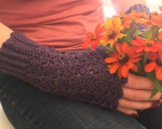 Purple Crocheted Fingerless Mitts, Merino Wool and Bamboo Fingerless Mitts, Fingerless Gloves