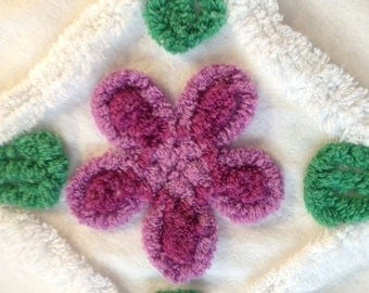 "Purple Flowers Vintage Chenille Bedspread Fabric...17 x 28"""