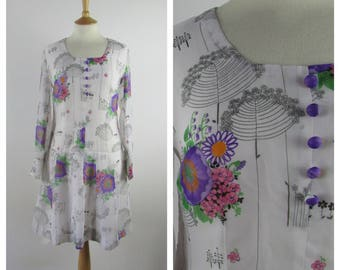 Vintage 1960s Shift Dress - Floral 60s Mod Dress - 60s Hippie Boho - Long sleeved - Medium - UK 12-14 / US 8-10 / EU 40-42