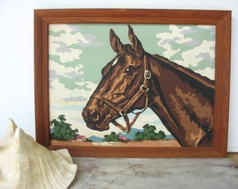 Vintage Horse Paint By Number Horse Portrait PBN Thoroughbred Equestrian Decor
