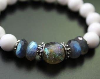 Basha bead and labradorite bracelet