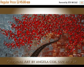 SALE Original Contemporary Red Blossom Tree Thick Impasto Fine Art Landscape  Palette Knife  Painting. 48 x 24.. MADE2ORDER.