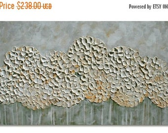 SALE Original Modern  Cream White Hydrangea  Flowers  Impasto Abstract Palette Knife  Floral  Painting. Size 48  x 24.