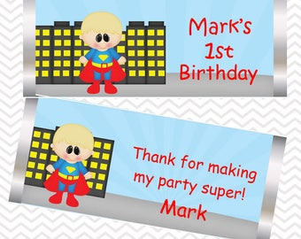 Superman - Superhero - Personalized Candy Bar Wrapper, Birthday, Baby Shower