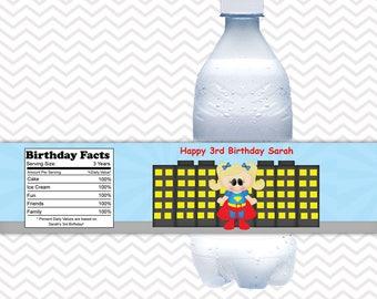 Supergirl Superhero - Personalized Water bottle labels - Set of 5 Waterproof labels