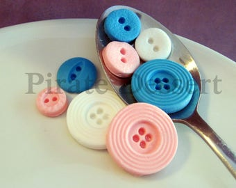 SUGAR BUTTONS- Blue/White/Pink- Fondant Buttons- Baby Shower cupcakes- Gender Reveal- Edible decorations- (Blue/White/Pink)Small(24 pieces)