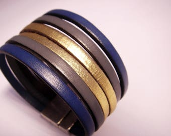 leather cuff Navy grey and gold with magnetic clasp