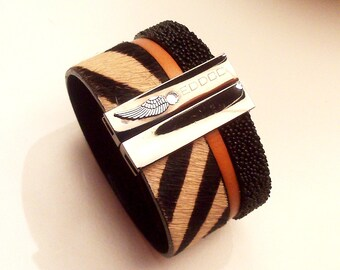 camel beige Zebra and with magnetic jet black caviar leather cuff