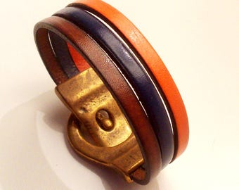 Bracelet leather belt cognac orange and Navy with silver zamak magnetic clasp