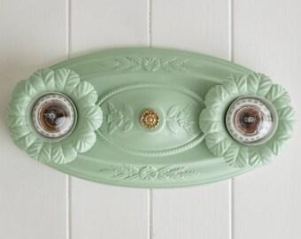 Rewired Vintage Flush Mount Ceiling Light Fixture Jadeite Mint Green Antique Bare Bulb Kitchen Bathroom Bedroom Living Room 1920s 1930s