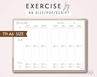 A6 TN Exercise Log - Traveler's Notebook Printable Insert PDF - Script Theme