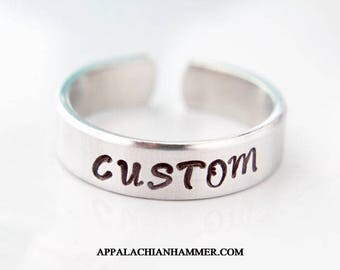 Custom Hand Stamped Aluminum Adjustable Ring