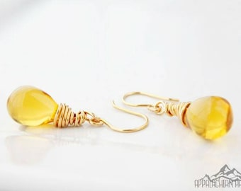 Honey Gold 24K Gold Plated Wire Wrapped Briolette Earrings